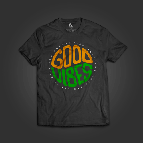 100% cotton Good Vibes multi color round collar T-shirt at Inline-4 online store.