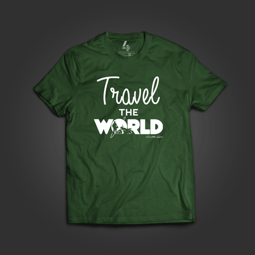 100% cotton Travel the World green color round collar T-shirt at Inline-4 online store.