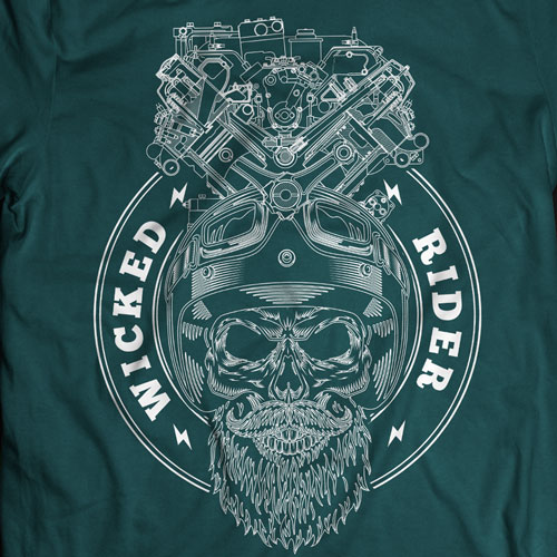 100% cotton Wicked Rider Petrol Head petrol blue color round neck Tshirts